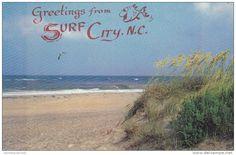 Scenic View, Sand Dunes on Shoreline, Surf City,  North Carolina 1950-60s