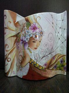 Moderní váza * porcelán zdobený hlavou dívky * Aline Koyess ♥