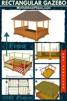 This step by step diy project is about rectangular gazebo plans. Building a rectangular gazebo is easy and it will add value to your backyard. Gazebo On Deck, Backyard Gazebo, Pergola Swing, Metal Pergola, Diy Pergola, Free Pergola Plans, Gazebo Plans, Gazebo Ideas, Deck Plans