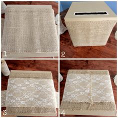 DIY Gift Card Box Burlap Collage -- Sweet Tea in the South diy card How to make an easy wedding gift card box Wood Card Box, Diy Card Box, Wedding Gift Card Box, Rustic Card Box Wedding, Money Box Wedding, Gift Card Boxes, Wedding Boxes, Diy Box, Wedding Cards