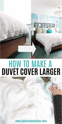 How to Make a Duvet Cover Larger. Struggling with a duvet cover that is too small - or a duvet cover that shrank? Don't get rid of it! It's really easy to add some extra length to a too-small duvet cover. Click to learn how to make a duvet cover bigger, plus find lots of other DIY sewing projects and home decor sewing project tutorials. Use this tutorial to convert a queen size duvet cover to a king size or a double duvet cover to use as a queen sized. Diy Sewing Projects, Cool Diy Projects, Project Ideas, Craft Projects, Linen Sheets, Linen Duvet, New Panel, Queen Size Duvet Covers, Buy Fabric