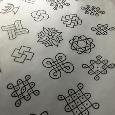 Prepping for @brightontattoocon next weekend. I'll be working the Sunday at the @tattooworkshopbrighton booth. I'll be doing handpoked walk ups all day. I've chosen a selection of small Indian Rangoli symbols and ornament designs for my flash sheet. Perfect for gap fillers, small token pieces and to bring you blessings and luck in life. All £60-80 as tattooing should be affordable and spontaneous sometimes, not expensive and exclusive. Namaskar #brightontattoo #brightontattooconvention…