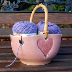 Heart Yarn Bowl / Knitting / Crochet / Needlecrafts by LASpottery Click the link to visit our site Ceramic Fish, Ceramic Art, Ceramic Pottery, Clay Studio, Pottery Sculpture, Pottery Plates, Yarn Ball, Clay Design, Pottery Making