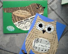 Set of two cards - bird and owl, printed page, paper, collage, music, book page, paper bag. $5.00, via Etsy.