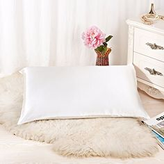 Alaska Bear® 100% Pure Silk Pillowcase for Hair & Facial Beauty Queen Standard Size, Ivory White Pillow Shams Cover with Hidden Zipper - BETTER than SATIN, COTTON or POLYESTER Pillowcase - NO 'odor' or dyes problem (1, Ivory(non-bleached))