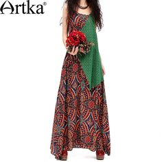 Artka Women'S Summer Bohemian Floor Length  Style Print Strap Slim Waist Patchwork Vest Long One-Piece Cotton Dress  LA10133X
