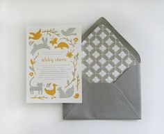 adorable letterpress baby shower invitation from Moglea