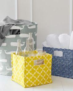 Printed Canvas Storage Bin blue w/ white dots, yellow trellis, white whales on grey.  10x10 wide 10x14 wide 18.5x15 round