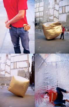 Basic shelter that fits in your pocket. It self inflates from body heat or the heat of the sun.