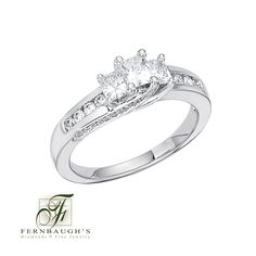 14k White Gold Three Stone Anniversary Ring available in 1/2 or 1 carat total weight (24D)