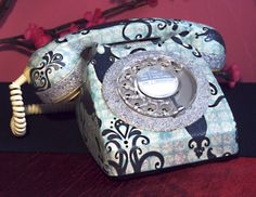 My hand finished Iced Squid Damask restored vintage phone. Collection available from www.lovekittypink.com & www.etsy.com/shop/lovekittypink