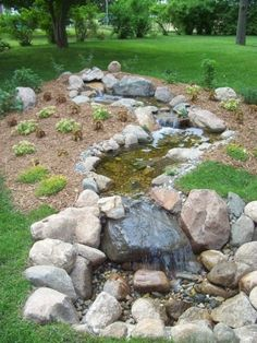 Modern Diy Garden Pond Waterfall Ideas For Backyard 19 Backyard Stream, Backyard Water Feature, Ponds Backyard, Backyard Pergola, Garden Stream, Pergola Swing, Pergola Ideas, Garden Fountains, Garden Pond