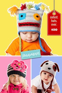 Huggalugs knit hats for babies & Kids only $20! Choose from styles including robot, puppy, ziggy flower, frog, princess and more. These are great as photo props, costumes, dress up, and just to be cute!