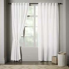 Opaque Linen Pole-Pocket Window Panel, White At West Elm - Solid Curtains - Window Treatments Canvas Curtains, Linen Curtains, Window Curtains, Window Panels, Black Out Curtains Bedroom, Bedroom Window Coverings, Bed Drapes, Curtain Panels, Bed Linens