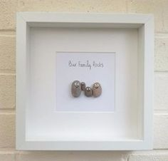 Pebble pictures Pebble family Pebble art handmade gift home decor new home