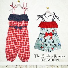 Starling Romper Girls, baby, toddler ,E book, tutorial, PDF, downloadable, sewing pattern, easy, DIY, instant download, Spring, Easter, digital, e pattern, kids, sew, AllegroDigiPatterns,