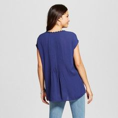 Women's Woven Boxy Top with Crochet Insets - August Moon - Navy XL, Blue