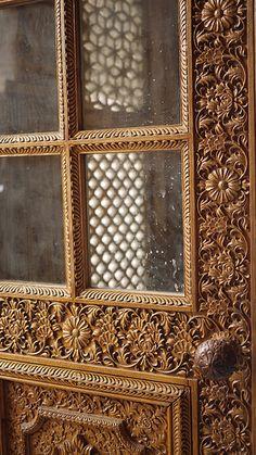 Wooden flower carved door