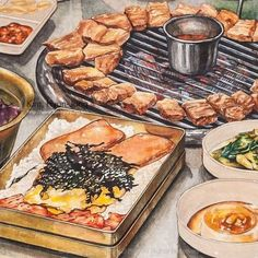 Cute Food Drawings, Food Sketch, Food Cartoon, Watercolor Food, Aesthetic Food, Food Illustrations, Korean Food, Creative Food, Food Design