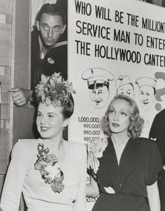 Deanna Durbin & Marlene Dietrich at the Hollywood Canteen, 1943 movie star vintage fashion history icons 40s war era photo print ad promo War Era WWII dress hairstyle flower corsage