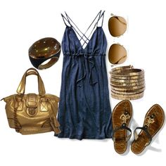 Navy & Gold, Great for summer/beach, created by lagu on Polyvore