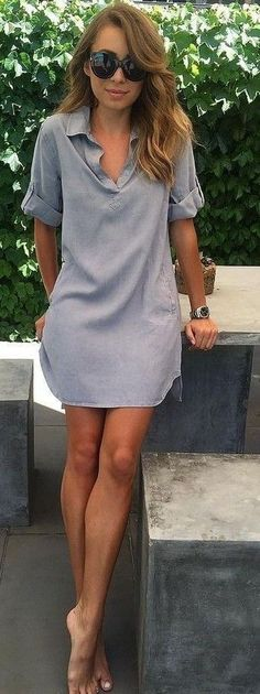 Love this comfy blue shirtdress.