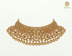 Azva handcrafted gold necklace with peacocks and kundan flowers Antique Jewellery Designs, Gold Earrings Designs, Gold Jewellery Design, Ring Designs, Antique Jewelry, Gold Jewelry Simple, Gold Wedding Jewelry, Bridal Jewelry, Gold Chocker Necklace