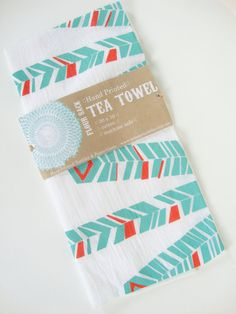 Tea Towel Geometric Screen Printed by someprintfolks on Etsy, $10.00 -- I love this color combo.
