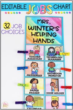 This DIY job chart for the classroom will encourage students to take ownership with classroom jobs! Use this EDITABLE classroom job chart to give your students responsibility & build community in the classroom. These job chart printables have simple pictures to make it a perfect resource for preschool, kindergarten & first grade classrooms. These printables could be used to create a classroom job bulletin board or job clip chart. #classroomjobchart #classroommanagementideas #jobsintheclassroom
