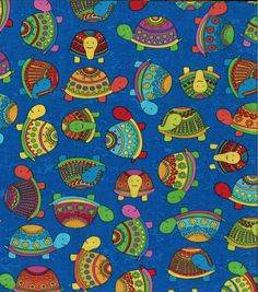 J, isn't this adorable! Novelty Cotton Fabric-Turtle Turtle