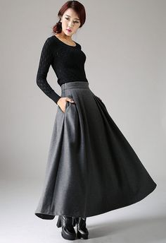 Gray Winter Wool Skirt - Long Pleated Grey Skirt with Side Pockets Flared Style (1091)