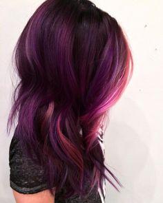 Spent 7 hours on this magnificent unicorn mane! Photos don't even do it justice!  #purplehair #pinkhair #wavyhair #mermaidhair #unicornmane