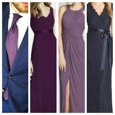My exact bridesmaids dresses.  From right to left: Prune, wisteria, and plum.  Guys will be in Navy suits and dark purple ties.