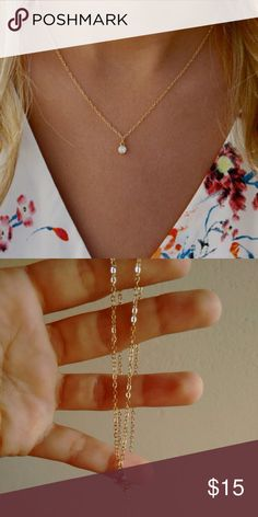 Gold Plated Crystal Necklace Gold plated  crystal necklace. Already on sale, NO OFFERS! Jewelry Necklaces