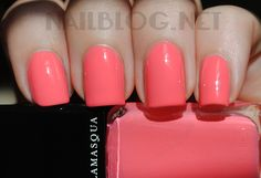 """Illamasqua """"Lament"""" Dupe, On the  Index/Ring finger is Sally Hansen Coral Reef vs. On the Middle/Pinky finger Illamasqua Lament"""