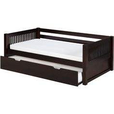 Camaflexi Twin-size Cappuccino Finish Day Bed with Twin Trundle and... ($665) ❤ liked on Polyvore featuring home, furniture, beds, brown, twin day bed, twin wood headboards, twin bed, wood daybed and wood day bed