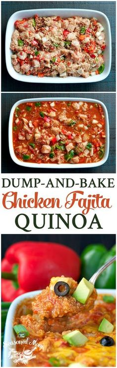 This Dump-and-Bake Chicken Fajita Quinoa is an easy and healthy dinner casserole that cooks entirely in one dish!