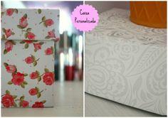 caixa encapada floral tecido nobre