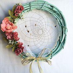 Dream Catcher guirlande de printemps | Porte Couronne de printemps |  Menthe verte, corail et rose Floral guirlande