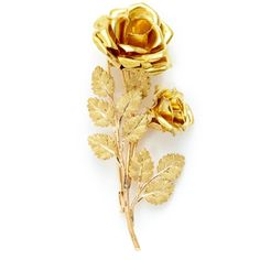 Buccellati Gold Double Rose Brooch (1.585 RUB) ❤ liked on Polyvore featuring jewelry, brooches, accessories, pin, fillers, rose gold brooch, gold brooch, leaf jewelry, yellow gold jewelry and leaf brooch