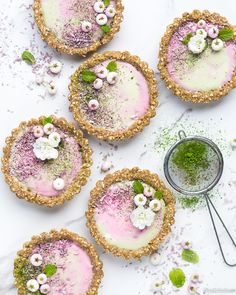 matcha and blackberry curd tarts gluten free vegan