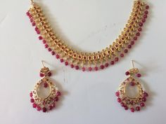 Ruby beaded barfi necklace set with Chandbali earrings(made on order ) - Deccan Pearls and Jewellery Gold Necklace Simple, Necklace Set, Gold Ruby Necklace, Stone Necklace, Pendant Necklace, Bridal Jewelry, Beaded Jewelry, Gold Jewelry, Ruby Jewelry