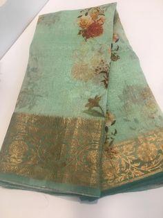 Buy these sarees at siri designers with best price. Cotton Saree Designs, Saree Blouse Neck Designs, Saree Blouse Patterns, Floral Print Sarees, Saree Floral, Kanjivaram Sarees Silk, Indian Silk Sarees, Organza Saree, Chiffon Saree