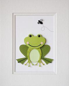 Frog Decor Kids Wall Art Childrens Decor Nursery Decor Art Matte Die Cut Custom Design Green Frog