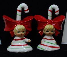 VTG Pair x2 LEFTON CHRISTMAS BELL FIGURINE CANDYCANE GIRL/   eBay