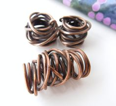 Handmade copper wire nest beads set of 3 1 large 2 by Metapolies, $18.00