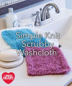 Simple Knit Scrubby Washcloth Free Knitting Pattern -- Choose a color that coordinates with your bathroom décor and use these knit Scrubby Washcloths at the sink or while you bathe. They are easy to wash by machine and the polyester fiber air dries quickly.
