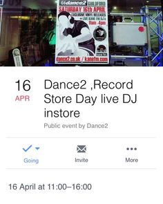 On Record Store Day April 16th 2016 Dance2 will be hosting live event featuring Kane FM DJs from 11am to 4pm.  DJs performing on the day so far:  Deejay Random DJ Chud Subterra & Lean Miracle Depth Charge Stilts Deceptive Nate Knowlesy Skyaaz  There will be exclusive releases for sale on the day!  Don't miss it!  I see all you collectors Bitching about Record Store Day...but let's not forget that's it's about the SHOP not the records. Support an ever decreasing and local business. They need…