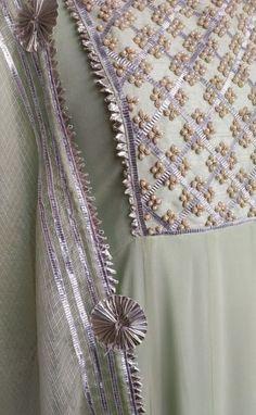 Best 11 Sewing Clothes Dresses Woman Shops 66 Ideas For 2019 Embroidery On Kurtis, Kurti Embroidery Design, Embroidery Suits, Embroidery Fashion, Embroidery Stitches, Indian Embroidery Designs, Pearl Embroidery, Salwar Designs, Kurta Designs Women