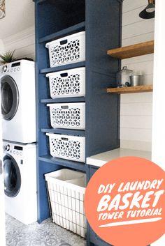 DIY Laundry Basket Tower – Honey Built Home